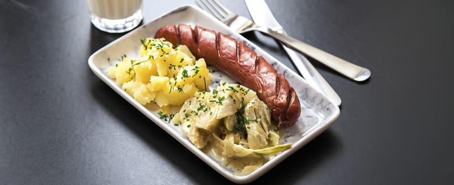Stekt korv med potatisstomp